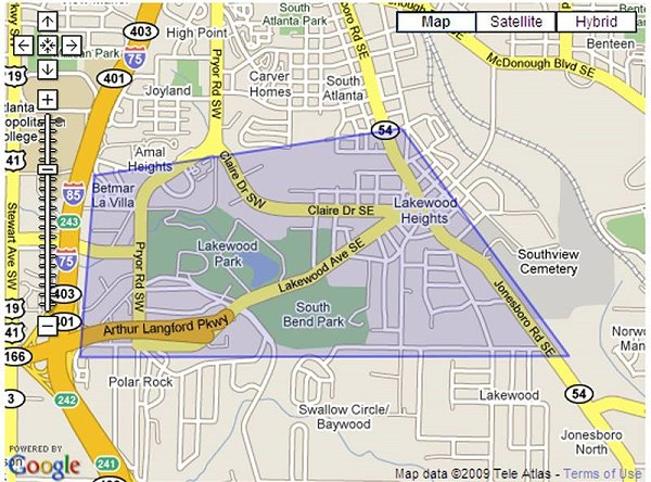 Map of Lakewood Heights Area of Atlanta, GA